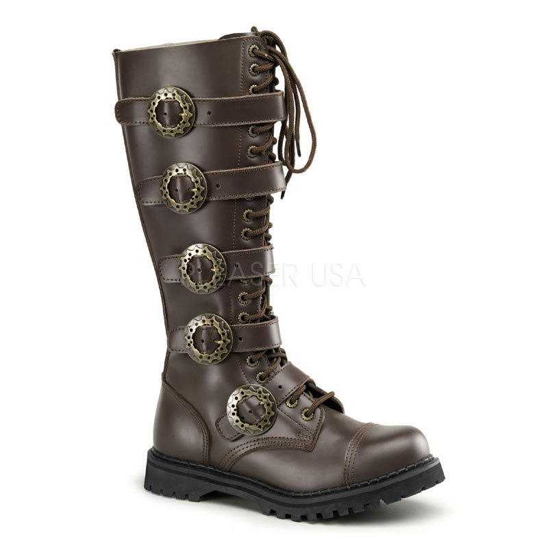 costume mens leather knee length steampunk boots
